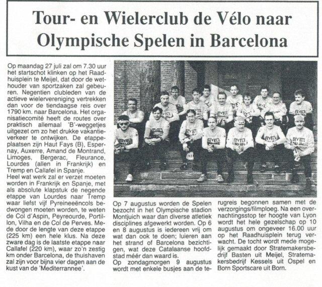 1992 Meijel- Barcelona 1800 km in 10 dagen